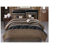 Luxurious 7 PCS Coffee Color  Embroidery Bed in Bag Microfiber Comforter Set New