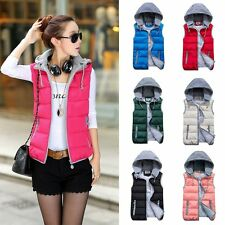Women Hooded Winter Down Cotton Vest Candy Color Warm Jacket Padded Waistcoat
