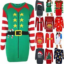Womens Ladies Crew Neck Little Christmas Fancy Party Xmas Elf Costume Mini Dress