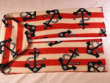 Anchors on Red and White Stripes Fleece Scarf fringed or not