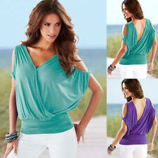Summer Womens Sexy V Neck Backless Casual Tops Batwing Sleeve Blouse Loose Tops