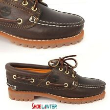 NEW! TIMBERLAND WOMEN'S HERITAGE NOREEN 3 EYE HANDSEWN BROWN BOAT SHOES 8211A US