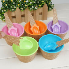 Hot Sale Kid Ice Cream Bowls Ice Cream Cup Dessert Container Holder with Spoon