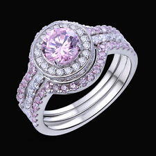 5 Ct Halo Round 925 Sterling Silver Pink Sapphire Engagement Ring Set Size 5-12