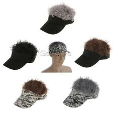 Winter Fake Flair Hair Visor Cap Mens Funny Toupee Wig Party Costume Hats Caps