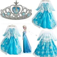 Frozen Disney Princess Girl Queen-Elsa Anna Cosplay-Costume Party Fancy-Dress