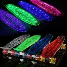 22''Cruiser Crystal Clear Complete Skateboard LED Light Up Wheels Outdoor Cool #