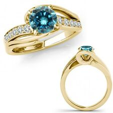 0.50 Ct Blue Diamond By Pass Solitaire Halo Bridal Fancy Ring 14K Yellow Gold
