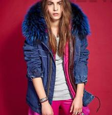 womens Genuine Fur rabbit fur denim jacket coat outwear trench padded warm parka