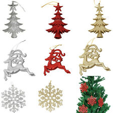 10pcs Christmas Party Glitter Reindeer Snowflake Hanger Tree Decorations