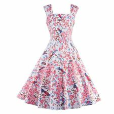 Housewife Vintage Evening Party Swing Pinup Sleeveless Floral Printed Dress