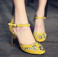 Hot Womans Shoes Block High Heel Party Rhinestones Pumps Ankle strap Fashion