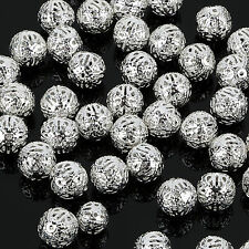 4/ 6/8/10mm SILVER PLATED FILIGREE Spacer Metal Beads Jewelry Making