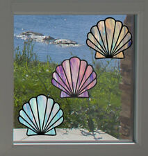 """CLR:WND Scallop Seashell Stained Glass Vinyl Window Decal ©YYDC(4""""W x3.7""""H)"""