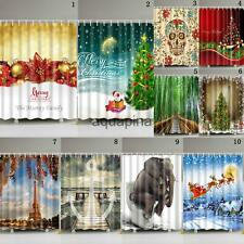Bathroom Fabric Shower Curtain Christmas Natural Landscape Waterproof W/ 12 Hook