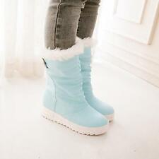 Womens Lady Platform Trend Round Winter Snow Mid Calf Boots Fur Lined Warm Shoes