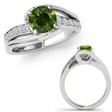 1 Ct Green Diamond By Pass Solitaire Halo Anniversary Fancy Ring 14K White Gold