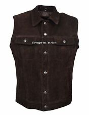 MENS brown Cowhide  NICE FITTING western style CLASSIC SUEDE Leather Waistcoat