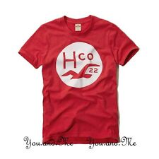 NEW HOLLISTER S/S LOGO GRAPHIC TEE T SHIRT for MEN * Beacon's Beach * Red L - XL