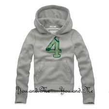 NEW ABERCROMBIE FITCH KIDS A&F Boys Vintage Varsity Hoodie Pullover LT Grey M-XL