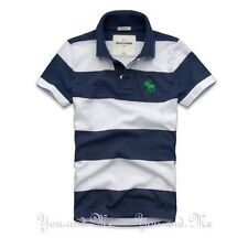 NEW ABERCROMBIE FITCH KIDS A&F Boys Cotton Striped Polo Shirt Navy/White M L XL