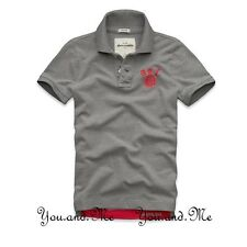 NEW ABERCROMBIE FITCH KIDS A&F Boys Cotton Message Graphic Polo Shirt Grey S-XL