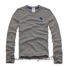 NEW ABERCROMBIE & FITCH KIDS A&F Boys Solid L/S V-Neck Tee T Shirt H Grey S M L