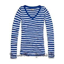 NEW HOLLISTER L/S V NECK T SHIRT WOMEN * Beacon's Beach Slim Fit Tee Blue XS S M