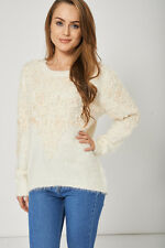 NEW WOMENS GORGEOUS Warm And Lovely Cream Fluffy Jumper For Ladies SIZES S M L