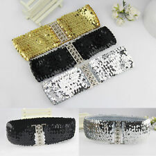 New Womens Elastic Sequin Belly Belt Stretch Waistband Buckle Corset Wide