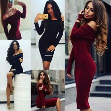 Women Sexy Strapless Long Sleeve Evening Party Cocktail Bodycon Pencil Dress