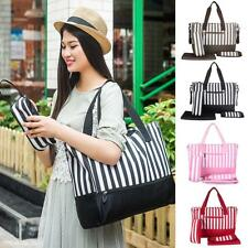 Striped Mummy Bag Shopping Tote Shoulder Handbag Baby Nappy Changing Diaper Bag