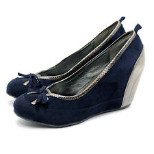 NEW GIRLS LADIES WOMENS FLATS SMART DOLLY WEDGE SCHOOL SHOES BALLERINA SIZE 3-8