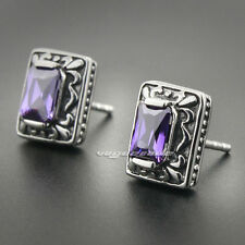 Purple CZ Stone 316L Stainless Steel Fashion Stud Earring 3L009A