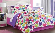 Latitude Bright Hearts Bed in a Bag Bedding  Comforter Sheets TWIN FULL