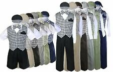 Baby Toddler Boy check Easter Gingham Christmas Long Short Vest Set Suit Sm-4T