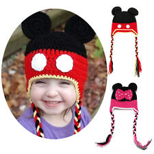 Newborn Baby Girl Knit Crochet Hat Handmade Beanie Cap Minnie Mouse Photo Prop
