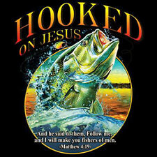 Hooked On Jesus I Will Make You Fishers Big Mouth Bass Fishing T-Shirt Tee