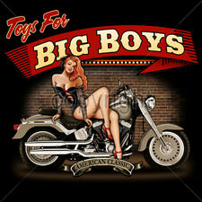 Toys For Big Boys Motorcycle Chopper Biker Pin Up Girl T-Shirt Tee