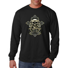 Brotherhood Cross & Skull Motorcycle Biker Chopper Long Sleeve T-Shirt Tee