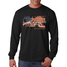 Home Of The Free Patriotic Distressed USA Flag America Long Sleeve T-Shirt Tee