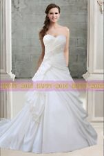 A-line White or ivory Taffeta Sweetheart Wedding dress Bridal Gown Size 6++16
