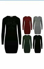 New Womans Ribbed Knit V Neck Lace Tie Up Front Bodycon Dress