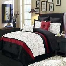 Elegant 8 Piece Ivory/Red/Black Comforter Set With decorative pillows New.