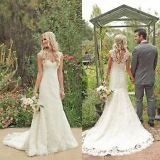 New Gorgeous White/Ivory Lace Wedding Dress Bridal Gown Custom Size6 -16
