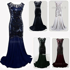 Long Evening Bridesmaid Dress Great Gatsby 1920s Flapper Party Prom Gown Dresses