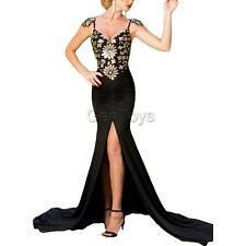 Sexy Women Strappy Sequined Open Back High Slit Mermaid Dress Maxi Prom Dress