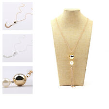 Women Elegant Two Round Beads Pearl Pendant long Chain Necklace Jewelry Fashion