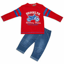 Baby Boys 2PC Cotton Outfit Longsleeve T-Shirt & Jeans Set Brooklyn Speedway Red
