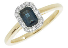 9ct carat White/Yellow Gold Cluster Diamond Ring 0.11 Carat with Sapphire